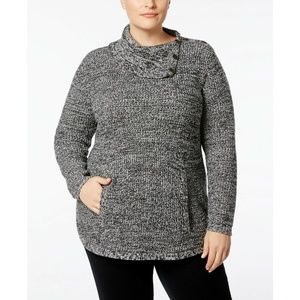 Style & Co Sweaters - Style &Co Dark Gray Envelope-Collar Sweater POCKET